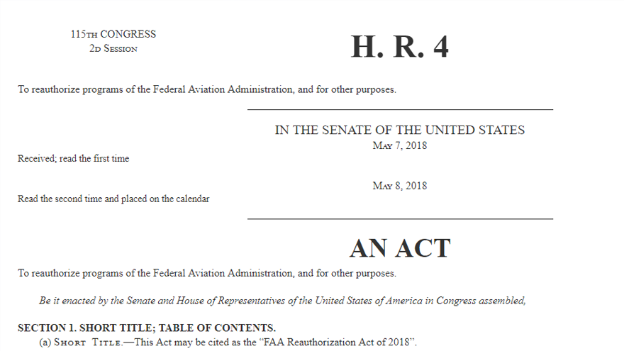 FAA Reauthorization Act of 2018 Passes with New Provisions for Drones
