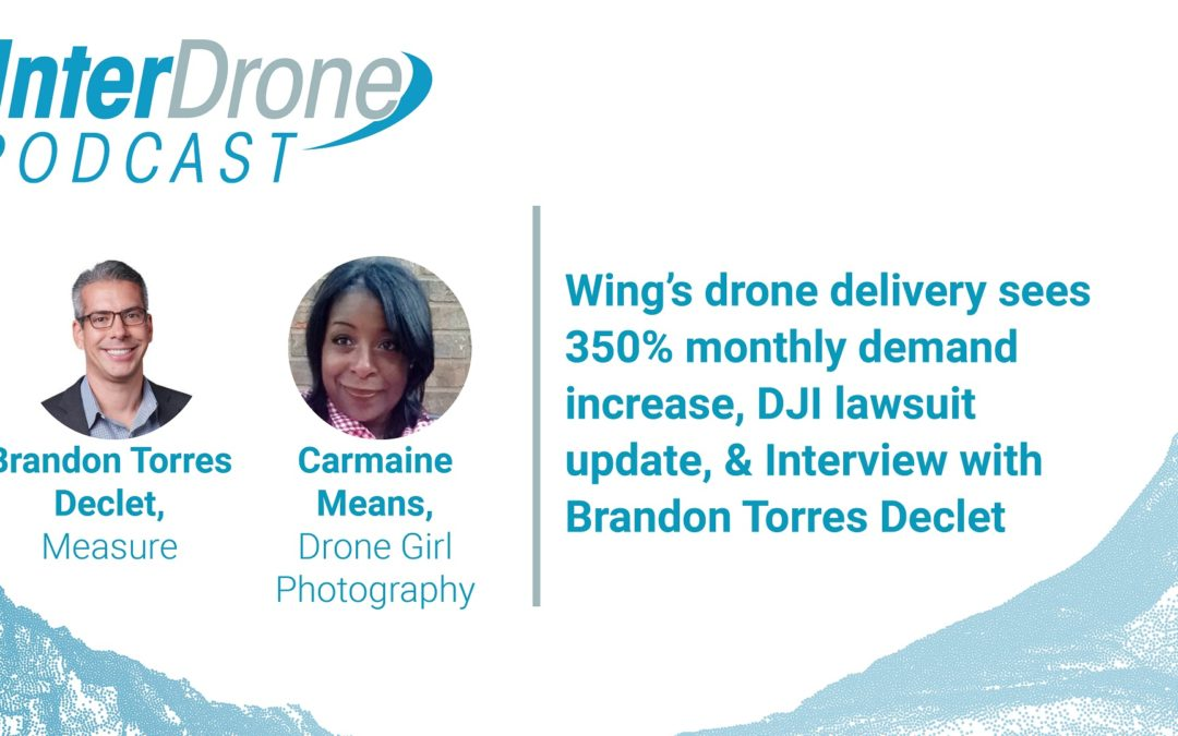 Episode 40:  Wing's drone delivery sees 350% monthly increase, DJI lawsuit update, & Interview with Brandon Torres Declet